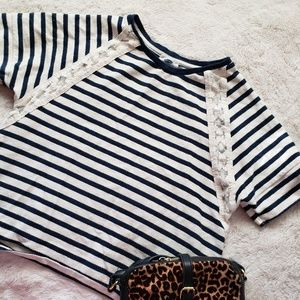 Striped with Embroidered Details Blouse